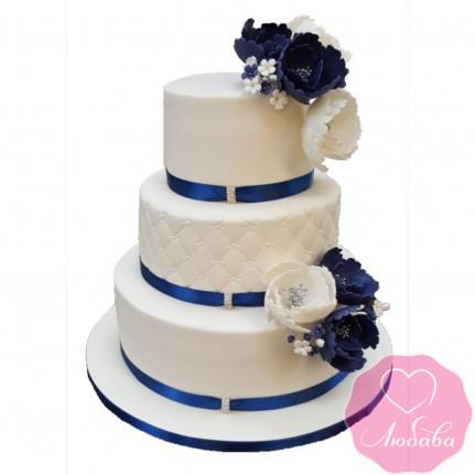 Торт свадебный с синими лентами №2557