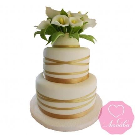 Торт свадебный с каллами №2558