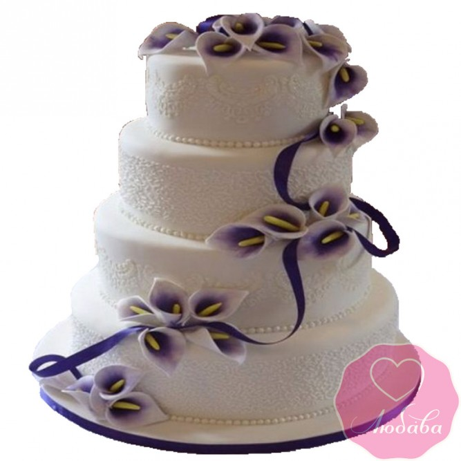 Торт свадебный сиреневый с каллами №2561