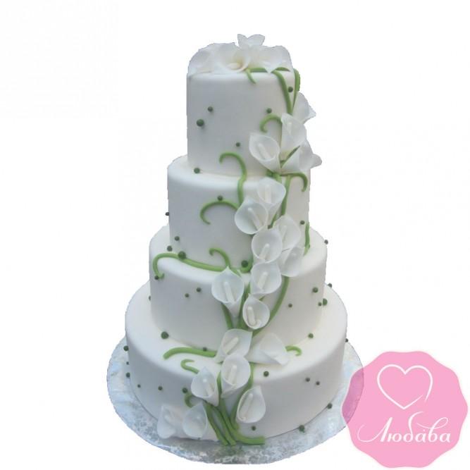 Торт свадебный с белыми каллами №2567