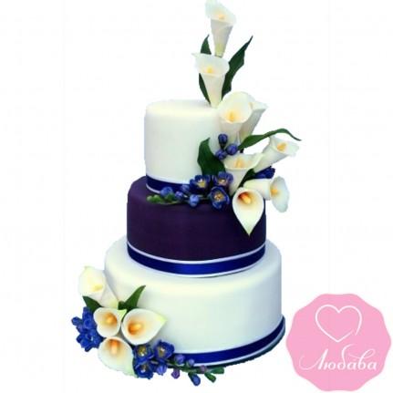 Торт свадебный синий с каллами №2568