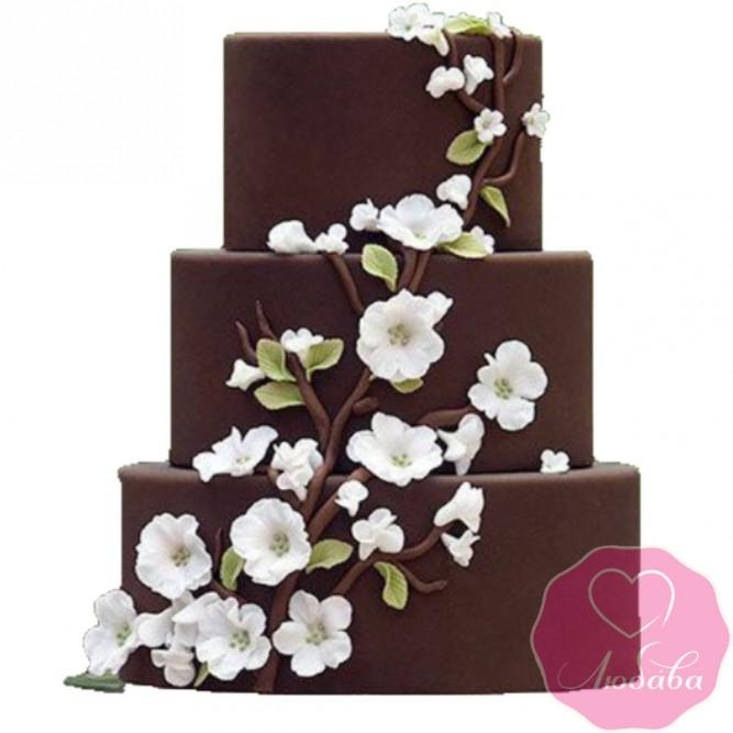 Торт свадебный шоколадный с сакурой №2569