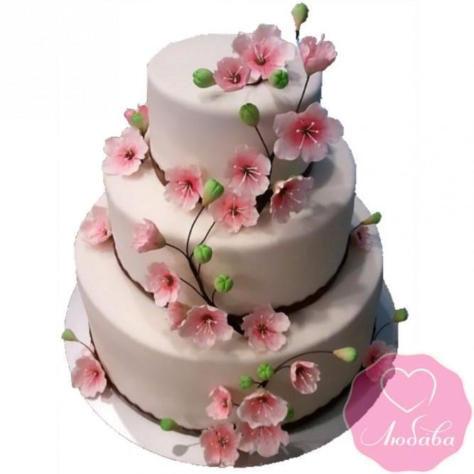 Торт свадебный с ветками сакуры №2570