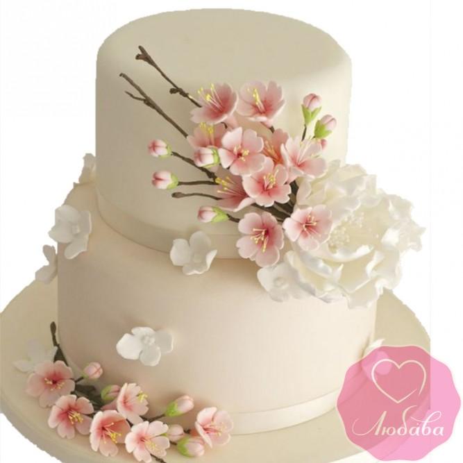 Торт свадебный с сакурой №2571