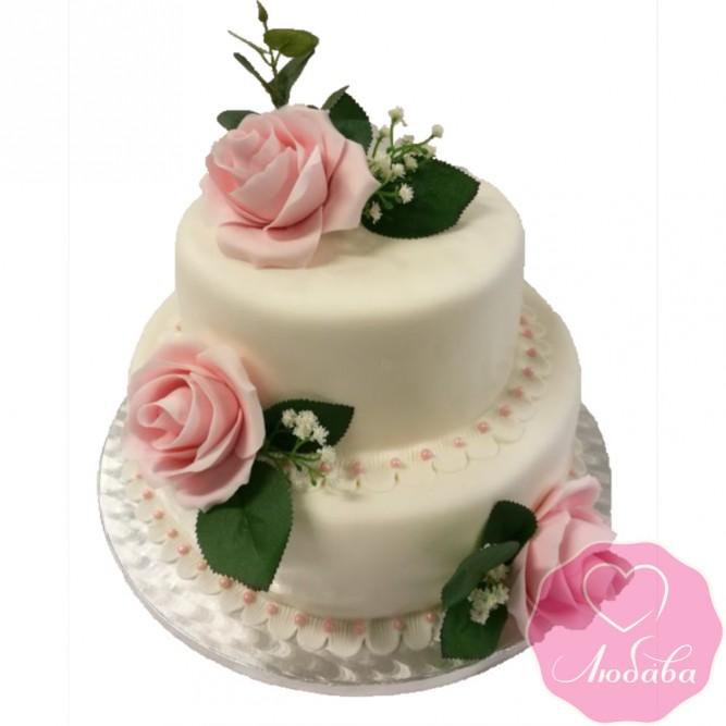 Торт свадебный розовые розы №2572