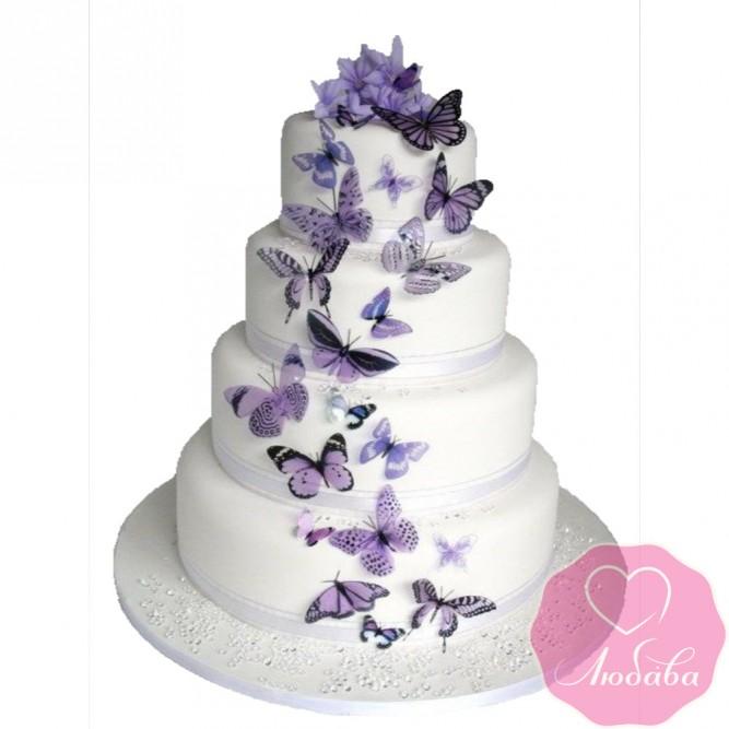 Торт свадебный с бабочками №2573