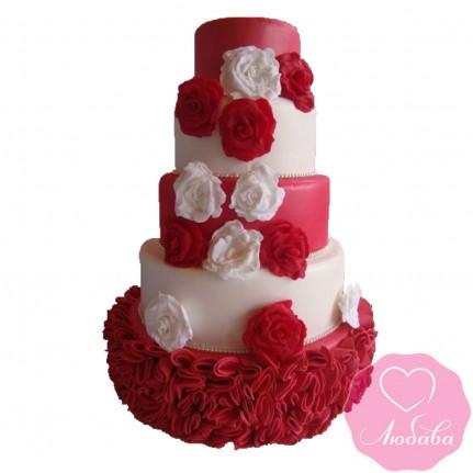 Торт свадебный с красными и белыми розами №2602