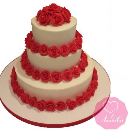 Торт свадебный белый с красными розами №2603