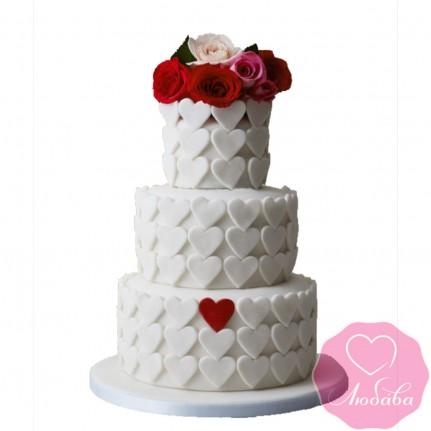 Торт свадебный сердца и розы №2604