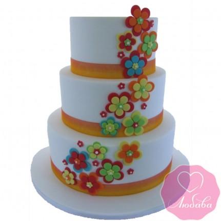 Торт свадебный трехъярусный с аппликацией №2605