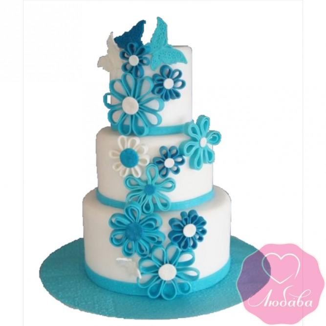 Торт свадебный бирюзовый с бабочками №2606