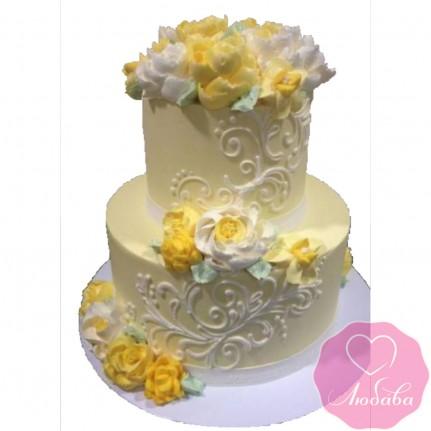 Торт свадебный с желтыми цветами №2608
