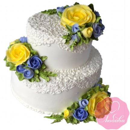 Торт свадебный с желтыми розами №2609