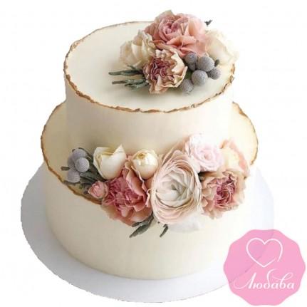 Торт свадебный небольшой с живыми цветами №2616