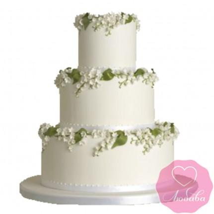Торт свадебный с ландышами №2617