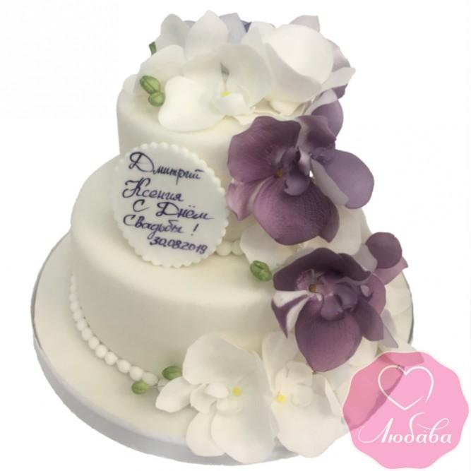 Торт свадебный двухъярусный с орхидеями №2618