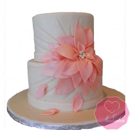 Торт свадебный с коралловым цветком №2619