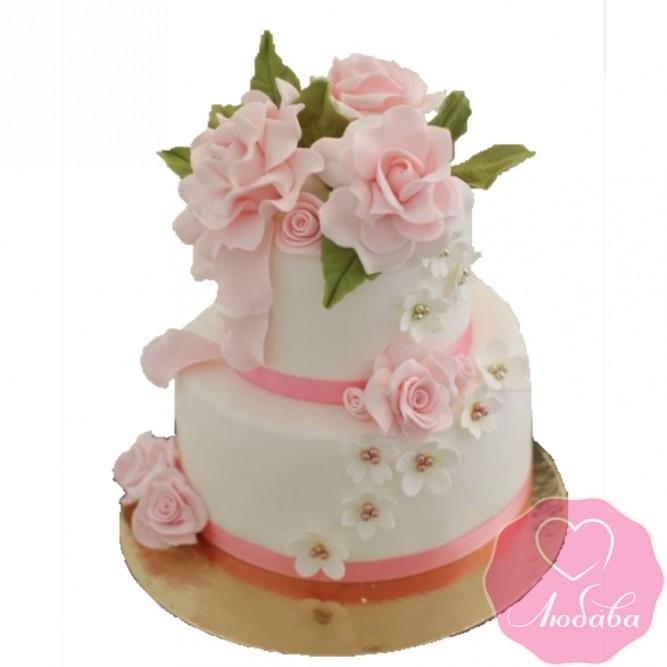 Торт свадебный с коралловыми розами №2620