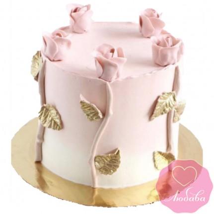 Торт свадебный одноярусный коралловый №2622