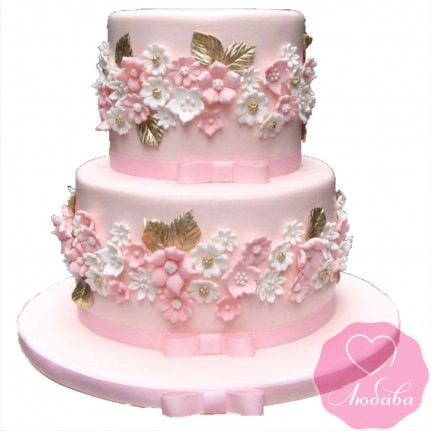 Торт свадебный двухъярусный коралловый №2623