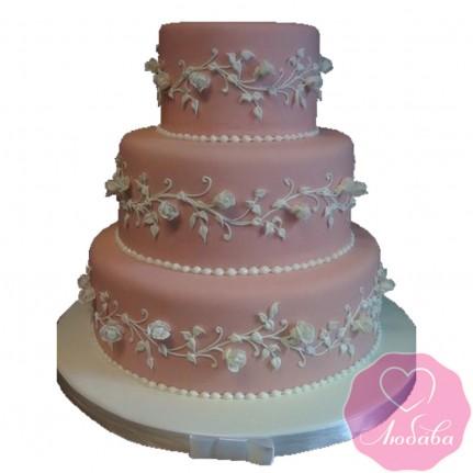 Торт свадебный трехъярусный коралловый №2624