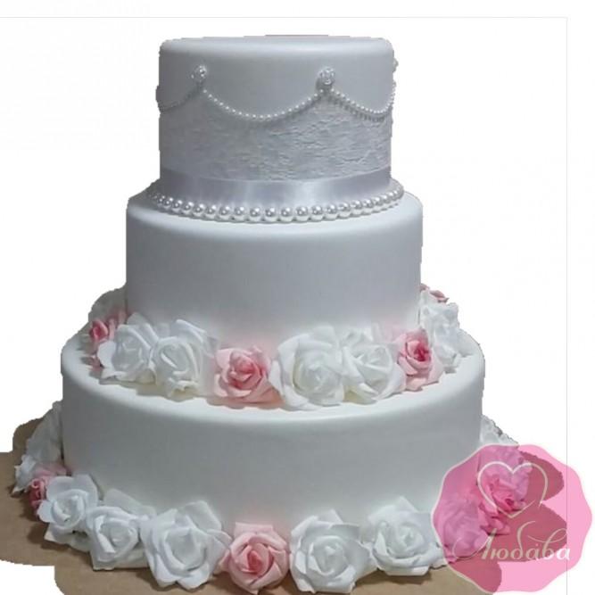 Торт свадебный с белыми и розовыми розами №2626