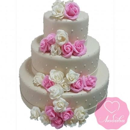 Торт свадебный кремовый с розами №2627