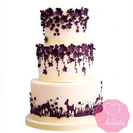 Торт свадебный с лесными зверями №2630