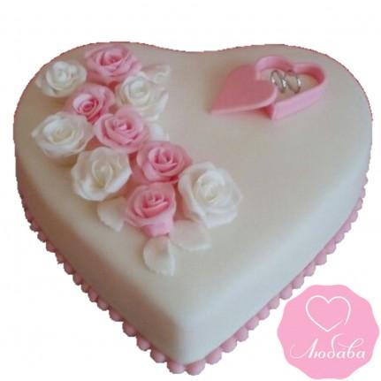 Торт свадебный одноярусный сердце №2631