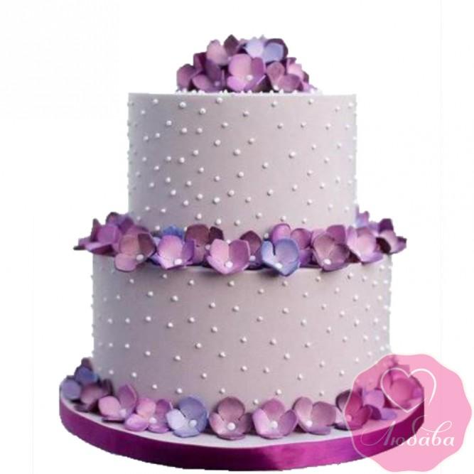 Торт свадебный с гортензиями №2638