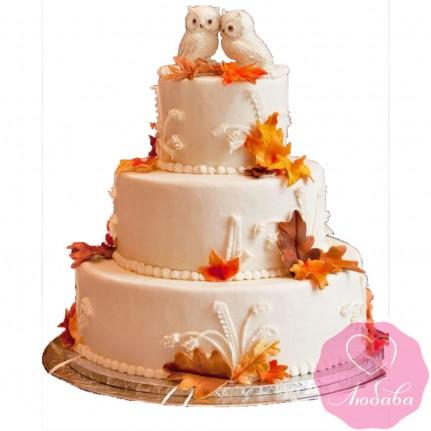 Торт свадебный с совами №2640