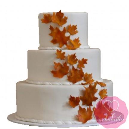Торт свадебный с кленовыми листьями №2641