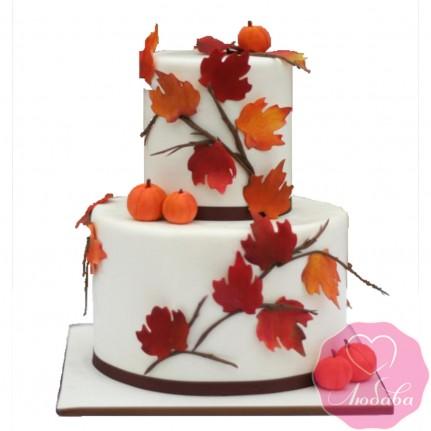 Торт свадебный осенний с тыквами №2643