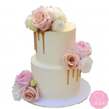 Торт свадебный с розами №2650