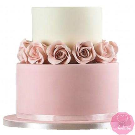 Торт свадебный бело-розовый №2658