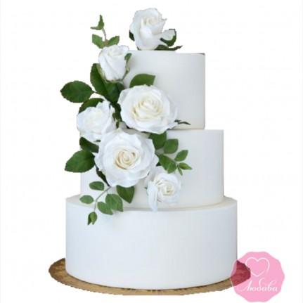 Торт свадебный трехъярусный с розами №2659