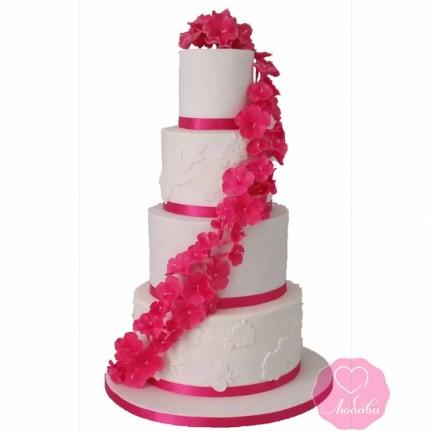 Торт свадебный четырехъярусный с цветами №2670
