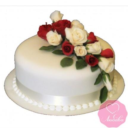 Торт свадебный с букетом роз № 2676