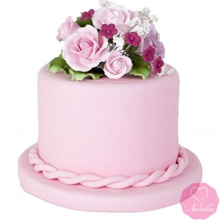 Торт свадебный розовый маленький №2682