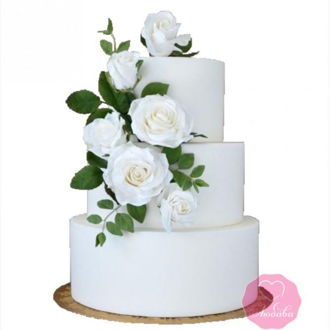 Торт свадебный белый с розами №2684