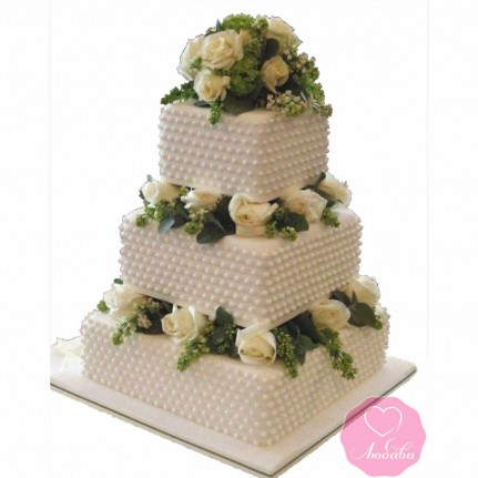 Торт свадебный трехъярусный с розами №2687