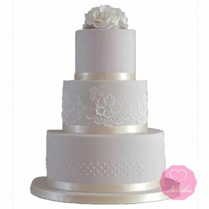 Торт свадебный белый с розой №2688