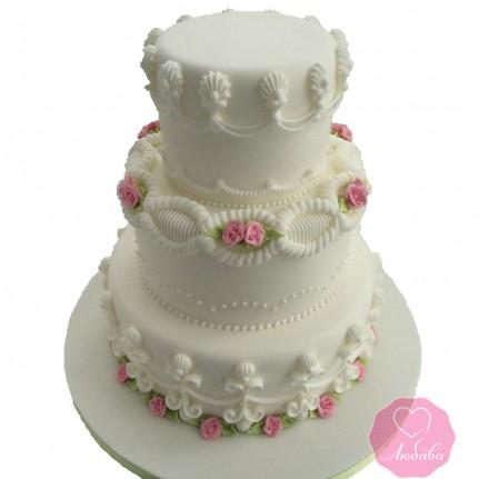 Торт свадебный белый трехъярусный №2693