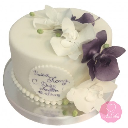 Торт свадебный одноярусный с орхидеями №2698