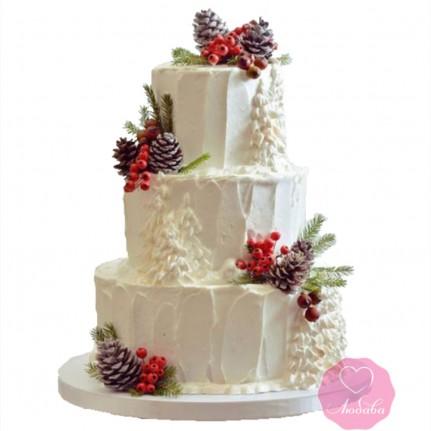 Торт свадебный зимний №2722