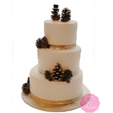Торт свадебный зимний с шишками №2723