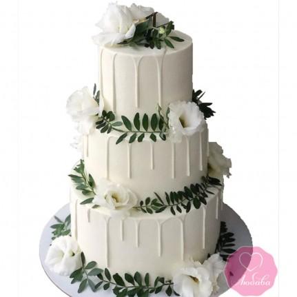 Торт свадебный с клематисами №2743