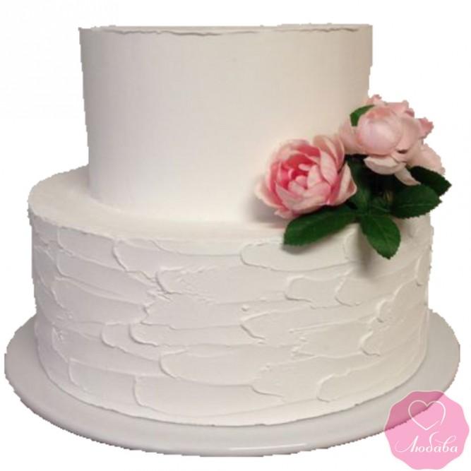 Торт свадебный без мастики с цветами №2746