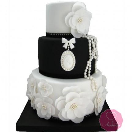 Торт свадебный черно-белый №2776