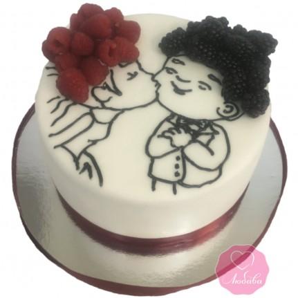 Торт свадебный с малиной и ежевикой №2777